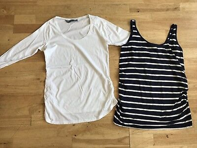 New look maternity bundle size 12 white long sleeved top striped vest