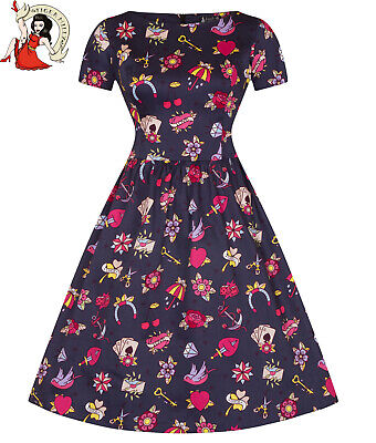 LADY VINTAGE ELOISE TATTOO PRINT rockabilly DAY DRESS