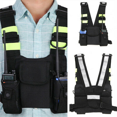 Oxford Cloth Chest Front Pack Pouch Holster Vest Rig For Radio Walkie Talkie 1pc