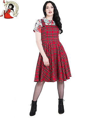 HELL BUNNY IRVINE VINTAGE style RED TARTAN check PINAFORE DRESS XS ... e71e5af4137