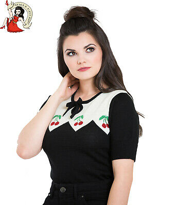 HELL BUNNY CHERIE CHERRY vintage style BLACK/IVORY SWEATER knit JUMPER XS-4XL