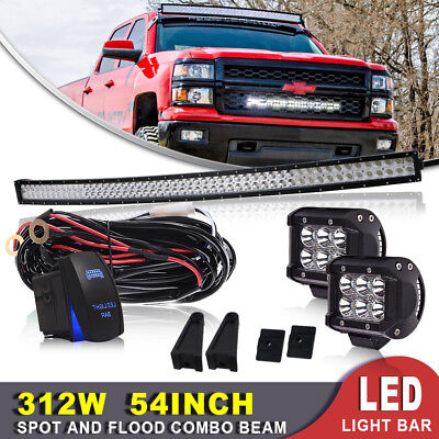 """54Inch 312W Curved LED Light Bar+4"""" Pods+Brackets For Ford F-150 Pickup 4WD 52"""
