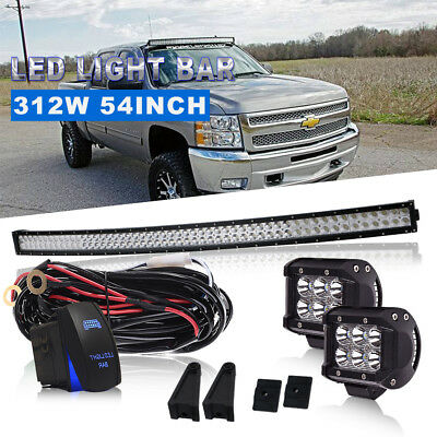 """54Inch Curved 312W Led Work Light Bar Combo+4"""" Pods+Wiring Kit VS QUAD ROW 50 52"""