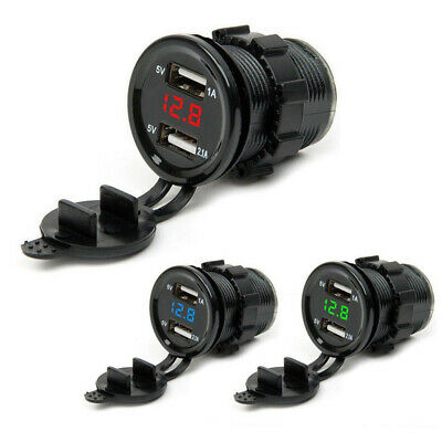 12V/24 Dual USB Ports Car Cigarette Lighter Socket Plug LED Voltmeter Waterproof