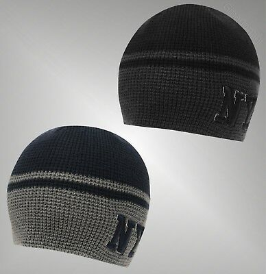 Boys New York Knitted Beanie Stripe Waffle Hat