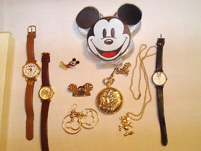 Vintage Mickey Mouse Lot(Pocket Watch)(Earrings)(Lorus)50 Year Marching Mickey
