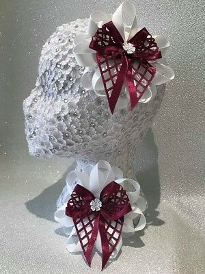Handmade white/burgundy criss-cross large Romany hair bows with flower centre