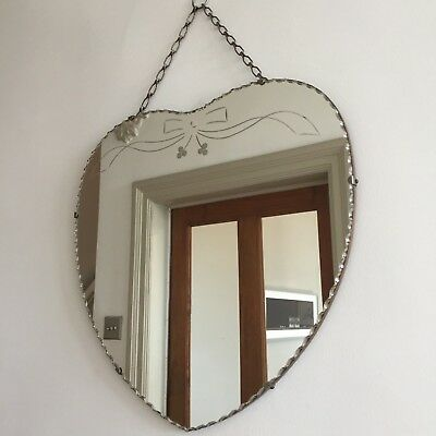 Vintage Frameless Heart Ribbon Bow Mirror Bevelled Cut Faceted Chain 45cm (m42A)