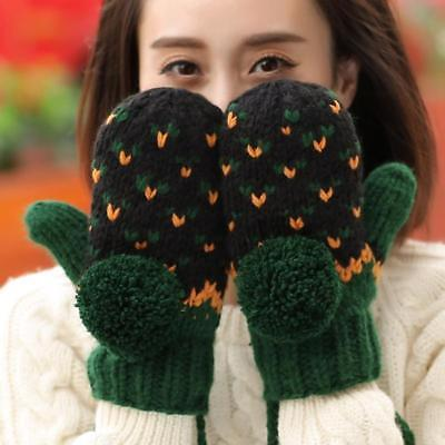 Winter Knitted Cotton Gloves For Women's Mitten Hand Wrist Solid Accessories New