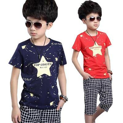 Boy Clothes Stars Cotton T-shirt Short Set Summer Suit Kids Wear Bodysuit Outfit