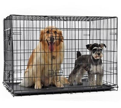 Pet Cage Kennel Crate Double Door Collapsible Easy Install Fit Domestic Delivery