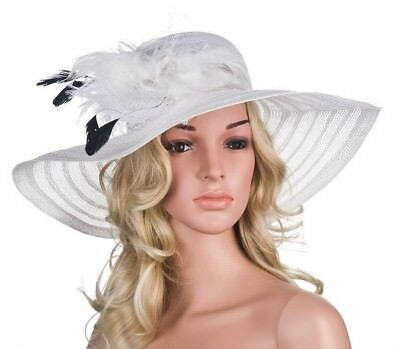 Women Dress Hat Fascinating Feather Netting Veil Sun Hat With Rhinestones Patch