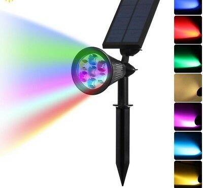 Garden Landscape LED Auto Colors Changing Solar Spotlight Outdoor Power Security