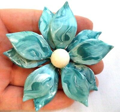 "Stunning Vintage Estate Marbled Enamel Flower Beaded 3"" Brooch!!! 5045D"
