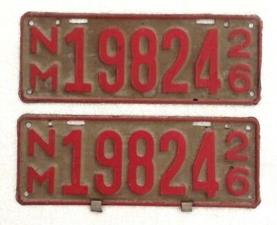 """Vintage 1926 New Mexico License Plate Pair Nos. 19824 - 12"""" X 4 1/2"""" - Excellent"""