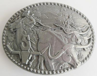 Longhorn Cattle Drive Pewter Belt Buckle Zee ADM  Western Cowboy Rodeo USA
