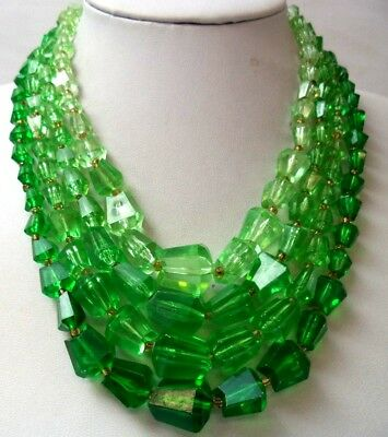 "Stunning Vintage Estate Signed Germany Green Bead 17"" Necklace! 1555E"