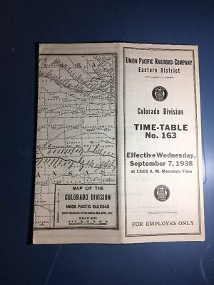 UP Union Pacific Employee Time-Table, Colorado Division #163, September 7 1938