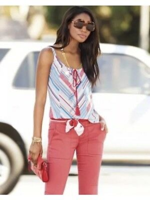 CAbi NEW Tassel Tank #5230 Red White Blue Stripes Size Small.  NWT