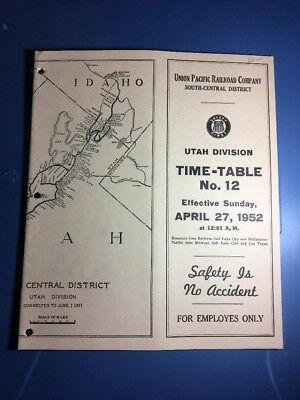 UP Union Pacific Employee Time-Table,Utah Division #12, April 27 1952