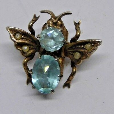 Superb Vintage Stone and Pearl Set Insect Motif Brooch