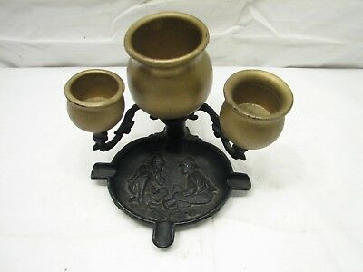 Vintage Cast Iron Ashtray Figural Kids Street Games Cards Wooden Cup Ornate