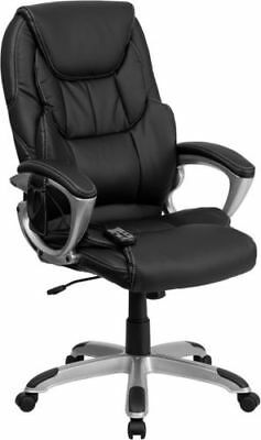 High Back Massaging Black Leather Executive Swivel Chair with Silver Base and @