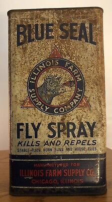 BLUE SEAL Fly Spray Vintage Rustic Can ILLINOIS FARM SUPPLY CO. Chicago IL.