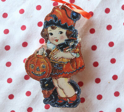 Glittered Wooden Halloween Ornament~Girl with Witch Doll~Vintage Card Image