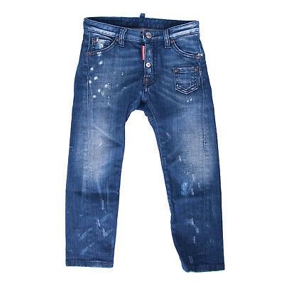 DSQUARED2 Jeans Size 6Y Stretch Distressed Faded Paint Splatter Effect RRP €225