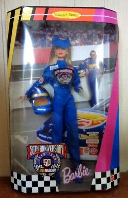 MATTEL 50th ANNIVERSARY COLLECTIBLE EDITION 1998 NASCAR RACING BARBIE DOLL, NRFB