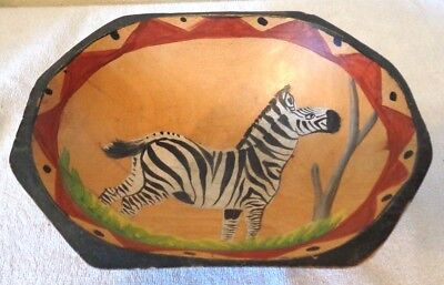 A Hand Carved Hand Painted Wood African Zebra Bowl Authentic Africa Oval