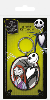 Nightmare Before Christmas Jack And Sally Rubber Keyring New Official