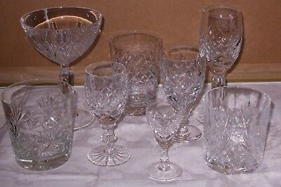 Mixed lot of  8 good quality cut glass drinking glasses