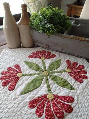 Early c1860 Antique Applique Red & Green Table or Doll QUILT Mexican Aztec Rose