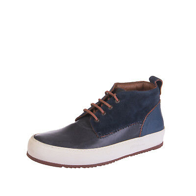 BARLEYCORN Leather Mid Top Sneakers Size 42 UK 8 Lace Up Made in Italy RRP €230