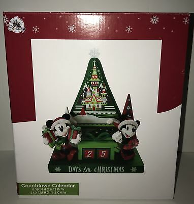 Disney Parks Mickey Minnie Castle Christmas Happy Holiday Countdown New with Box