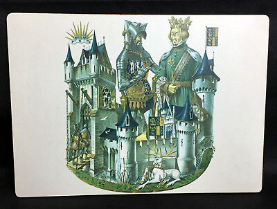 """White Stag Richard II Knight Castle 10"""" x 14"""" Lady Clare Place Mat Green Felt"""
