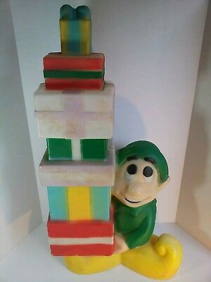 "Vintage Elf With Presents 35"" Blow Mold Christmas Lighted Yard Decoration"