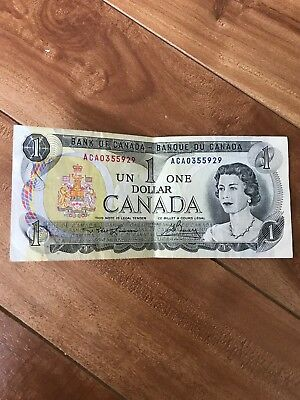 Canada. Canadian Currency, Paper Money, Bank Note 1 Dollar 1973