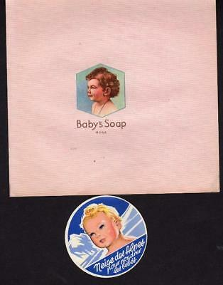 ORIGINAL VINTAGE WRAPPER FOR BABY SOAP + LABEL FOR BABY POWDER - 1930s (PINK)