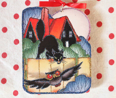 Glittered Wooden Halloween Ornament~Cat, Owl & House~Vintage Card Image