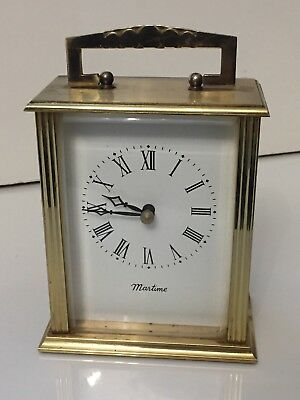 """Vintage Solid And Heavy Brass Carriage German Clock """"MARTIME"""""""