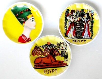 Lote x3 Imanes mini platos de porcelana decoración Antiguo Egipto 6cm