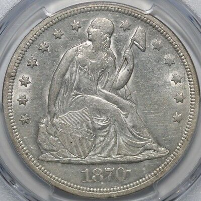 1870 Seated Liberty Dollar PCGS AU58 Rare this White!