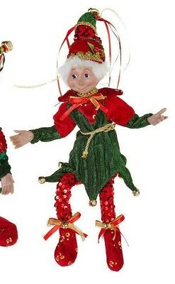 "19"" Red & Green POSABLE SEQUIN ELF 3752942 RAZ Imports Christmas NEW FaBuLouS!"