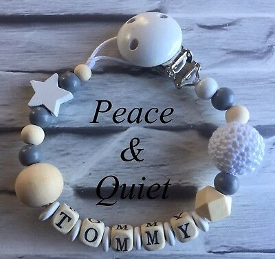 Personalised Dummy Clip🖤Wooden💎Gift, crochet🖤boy💎girl, White, #WWW