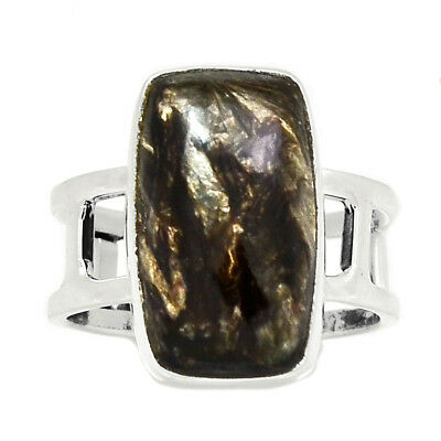 Rare Black Golden Seraphinite From Serbia 925 Silver Ring Jewelry s.8.5 RR215242