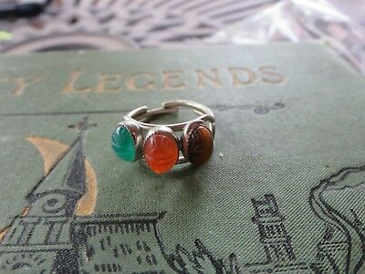 Sterling Silver 1920's Egyptian Revival Scarab Ring Size 6
