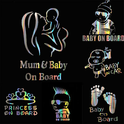 CO_ Colorful Laser Baby in Car Body Window Reflective Sticker Warning Sign Decal